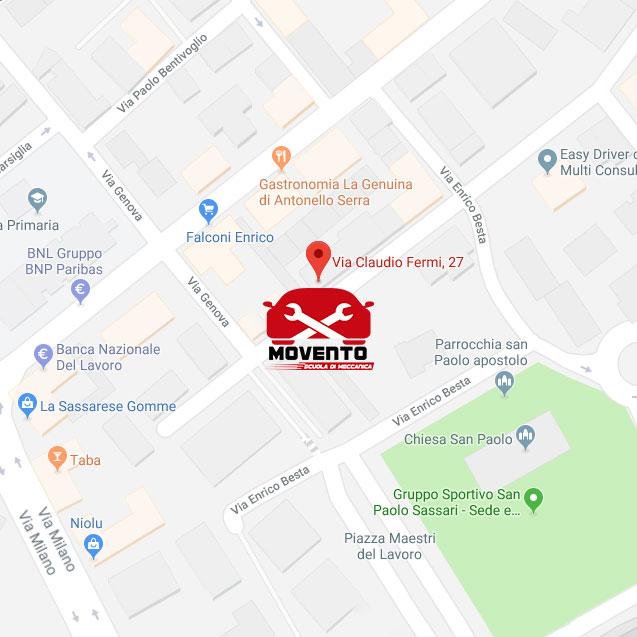 Sede-Sassari-scuola-meccanico-corso-movento-mappa dove si trova come arrivare
